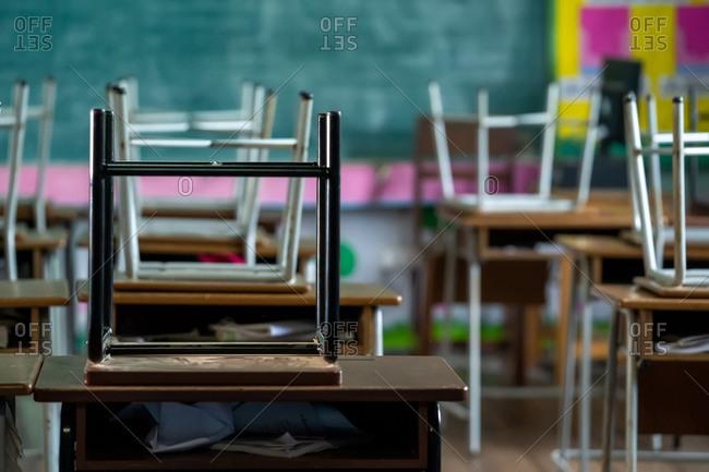 Elementary school student classroom desk