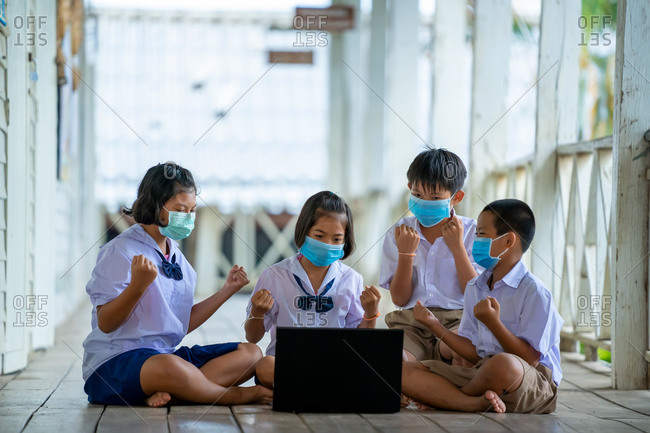 Group of students wearing protective masks