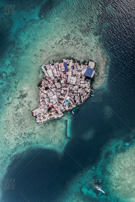 Aerial Top Down View Of Houses On Densely Populated Islote Island In The Caribbean Sea, Colombia