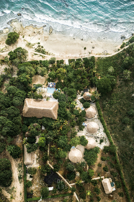 Aerial View Of Luxury Palm Cabanas And Tropical Island Resort By The Caribbean Sea, Colombia