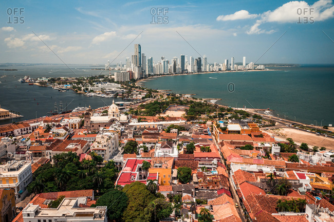 Aerial View Of Colonial Old Town Buildings In Cartagena Historical City Center, Bocagrande Skyline In Distance, Cartagena, Colombia