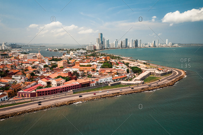 Aerial View Of Coastal Road Around Cartagena Historical City Center With Bocagrande Skyline In Distance, Colombia