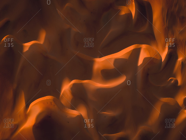 Aerial abstract view of sand dunes in Abu Dhabi, United Arab Emirates.