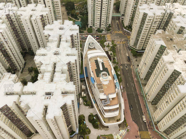 December 17, 2017: Aerial view of the Whampoa, a mall that looks like a boat, Hung Hom, Kowloon City District, Hong Kong.