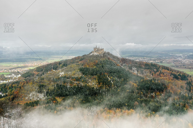 Aerial view of Hohenzollern Castle, atop Mount Hohenzollern, south of Hechingen, Swabian Jura, Baden-Wurttemberg, Germany.