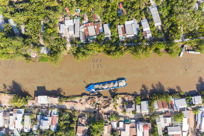 Aerial view of cargo boat on river, Can Tho, Vietnam.