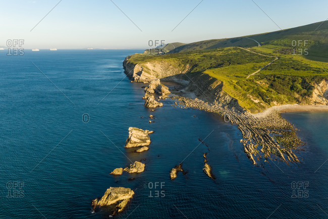 Aerial view of rugged coast along in West Lulworth cove, Dorset, UK.