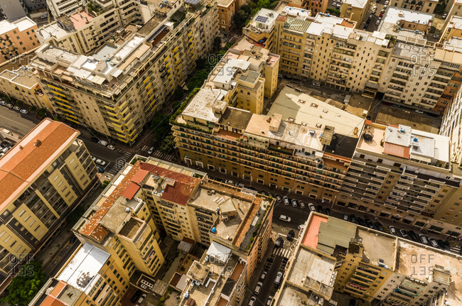 August 31, 2019: Aerial view of urban setting in the city of Cagliari in Sardinia, Italy.