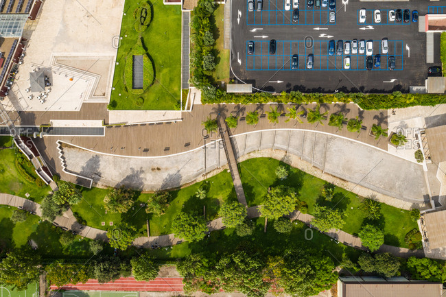 Aerial view of parking lot in urban setting in the city of Cagliari in Sardinia, Italy.