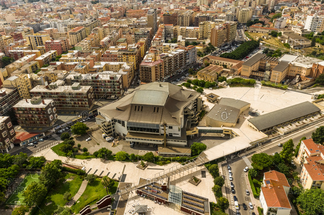 Aerial view of urban setting in the city of Cagliari in Sardinia, Italy.