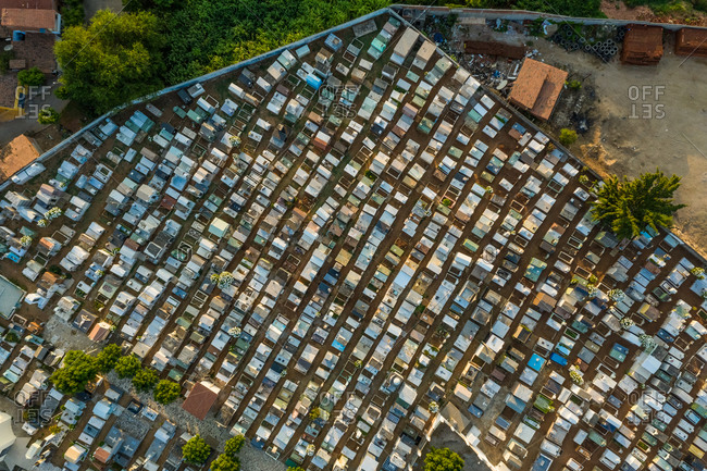 Aerial view of rows of graves in cemetery in Ceara, Brazil.