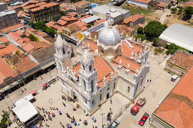 Ceara, Brazil - October 5, 2019: Aerial view of religious gathering
