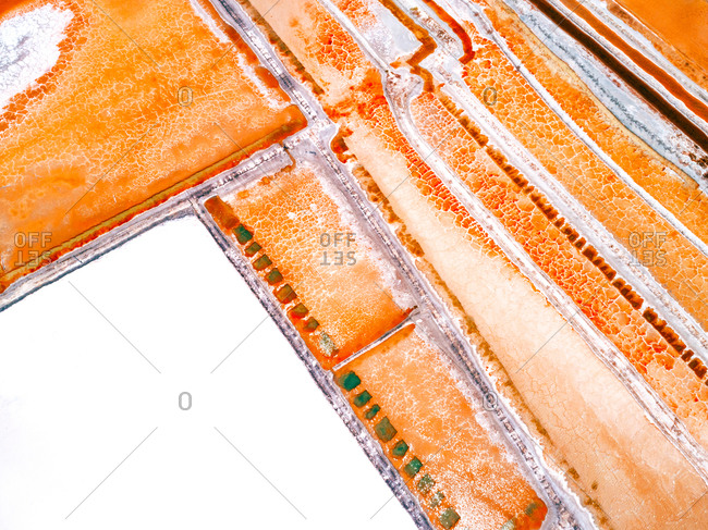 Aerial view above interesting texture pattern created by salt flats, Brazil.