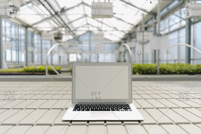 Laptop on floor with plants in background at greenhouse