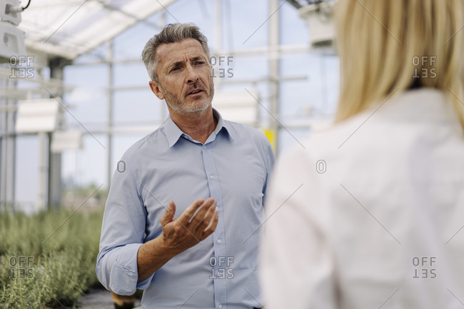 Businessman discussing with female coworker while standing in greenhouse