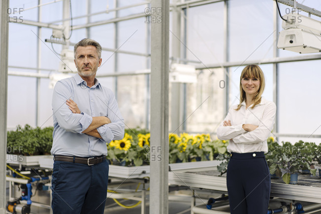 Confident male and female professionals with arms crossed standing in greenhouse