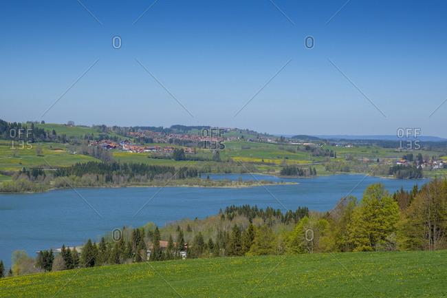 Germany- Bavaria- Wertach- Gruntensee reservoir in spring