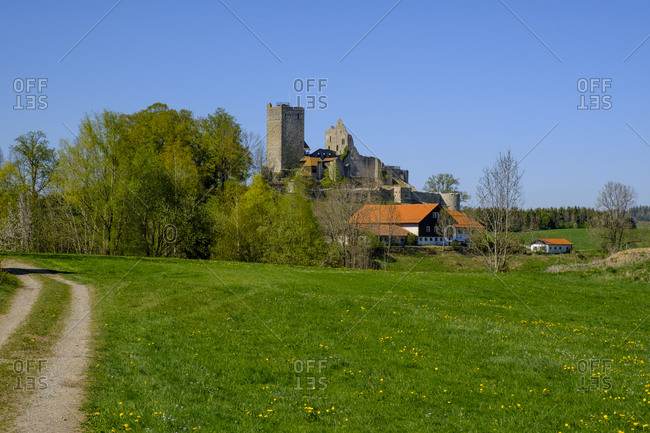 Germany- Bavaria- Sulzberg- Green countryside meadow with castle ruins in background