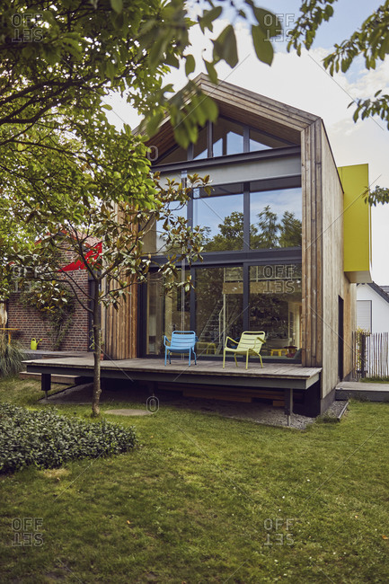 Exterior of tiny house set in nature