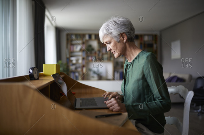 Active senior woman concentrating while working on laptop