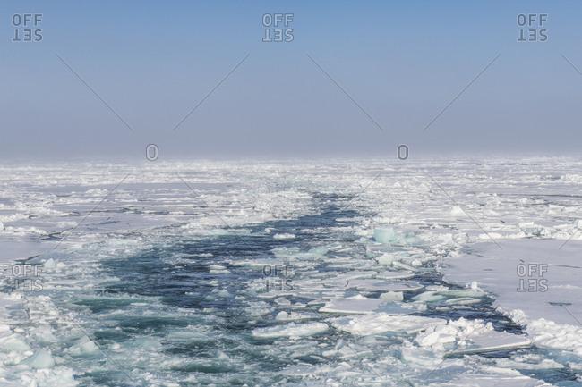 Broken ice floating in Arctic Ocean