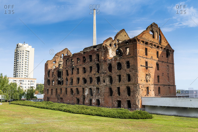 October 4, 2019: Russia- Volgograd Oblast- Volgograd- Ruined building at State Historical and Memorial Preserve Battle of Stalingrad