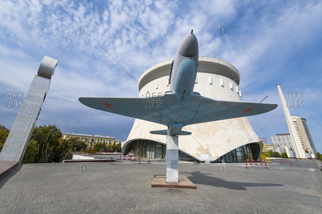 October 4, 2019: Russia- Volgograd Oblast- Volgograd- Old military airplane displayed at State Historical and Memorial Preserve Battle of Stalingrad
