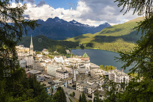 Switzerland- Canton of Grisons- Saint Moritz- Resort town in Engadine valley
