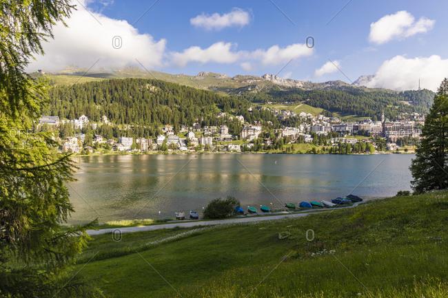 Switzerland- Canton of Grisons- Saint Moritz- Lake Saint Moritz and resort town in Engadine valley
