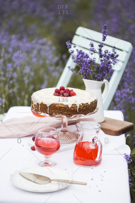 Carrot cake with raspberries with fruity drink on a table in a lavender field