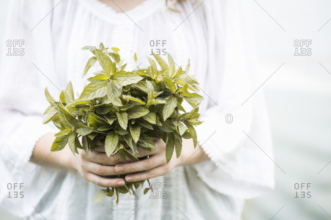 A woman in a white dress holding a bunch of mint