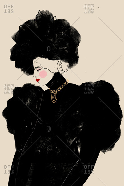 Illustration of model wearing a black fluffy high fashion outfit with matching hat