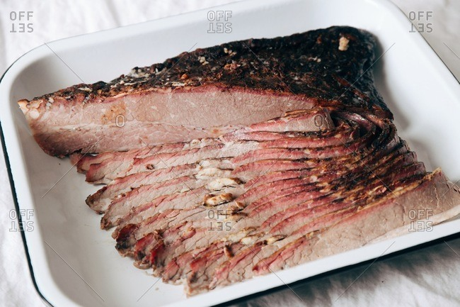 A sliced beef roast for Thanksgiving dinner