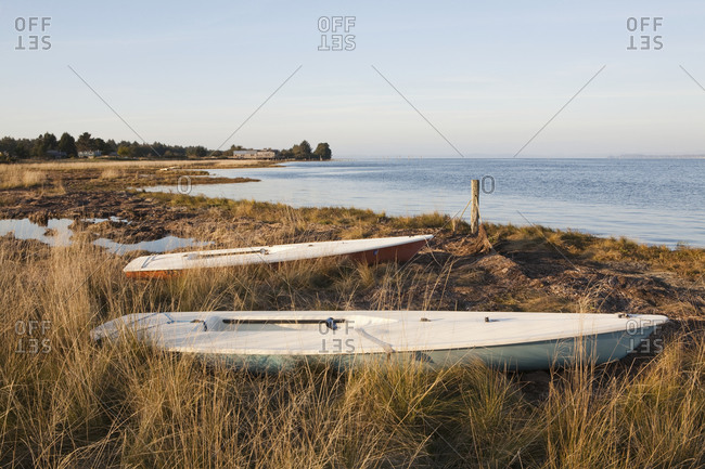 Two small boats beached on the shoreline