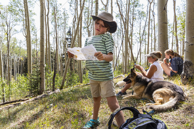 7 year old boy holding treasure map in forest of Aspen trees