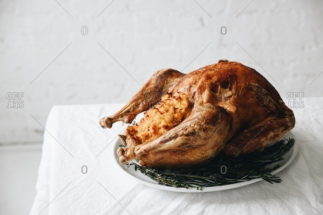Traditional stuffed turkey for a holiday dinner