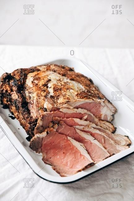 Sliced ham roast for a holiday dinner