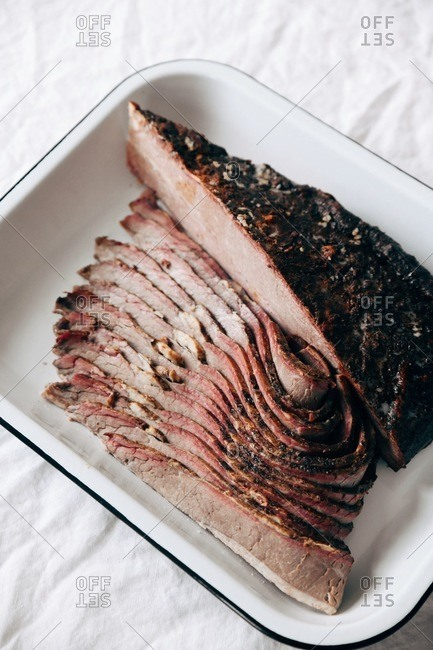 Top view of a sliced beef roast for Thanksgiving dinner