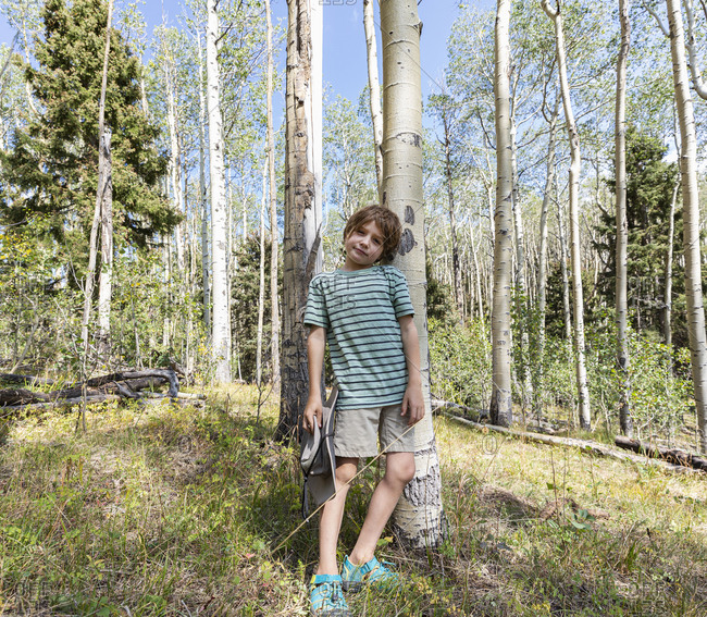 Portrait of 7 year old boy standing in forest of Aspen trees