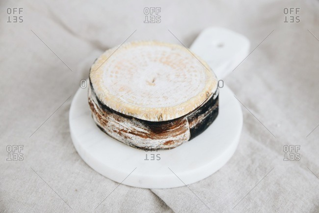 A spruce bark banded cheese on marble