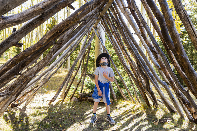 Young boy looking up, standing in a tunnel made of tree logs.