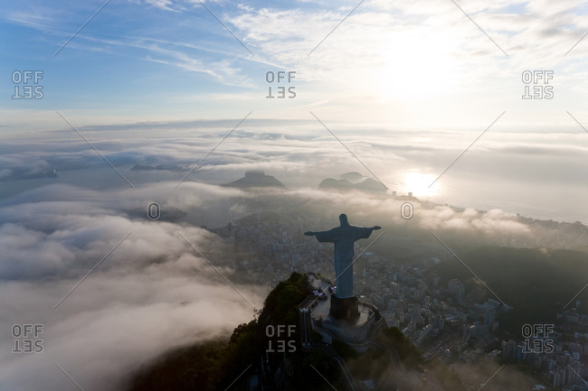 View of the Art Deco statue of Christ on Corcovado mountain in Rio de Janeiro, Brazil.