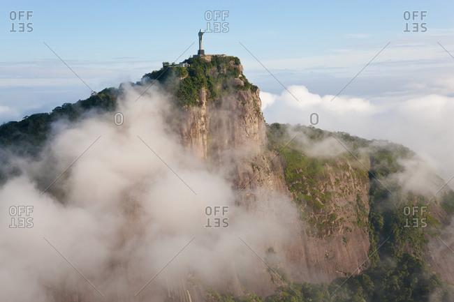 View of the Art Deco statue of Jesus on Corcovado mountain in Rio de Janeiro, Brazil.