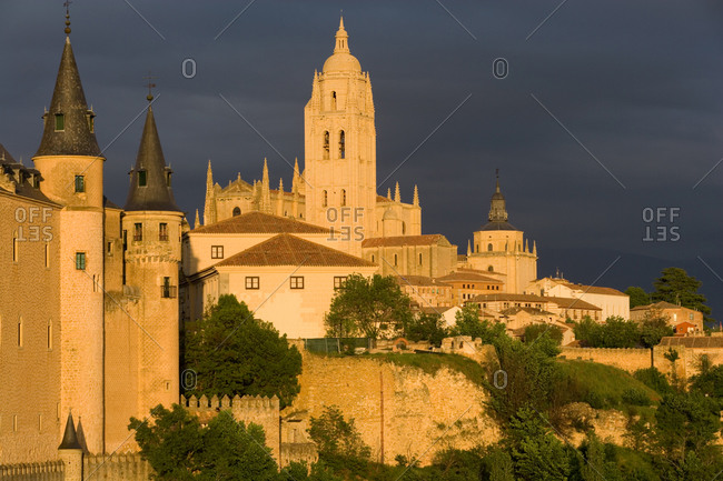 Exterior view of the Alc�zar of Segovia, a medieval castle in the city of Segovia, Castile and Leon, Spain.