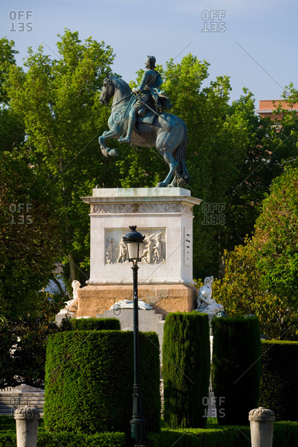 November 9, 2020: Statue of Philip IV in the Plaza de Oriente, Madrid, Spain.