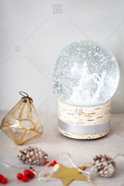 Christmas decorations, close up of Christmas decorations and snow globe.