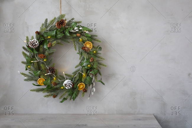 Christmas decorations, close up of Christmas wreath with ornaments.