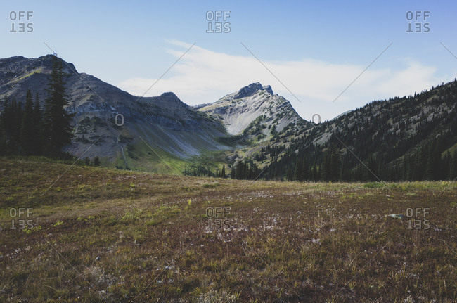 Remote mountain range and alpine meadow in Fall, along the Pacific Crest Trail