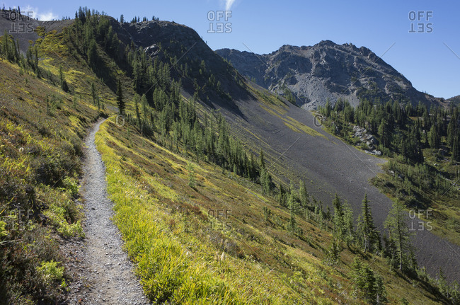 Path on a hillside on the Pacific Crest Trail