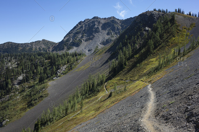 View over a valley and mountain path of the Pacific Crest Trail
